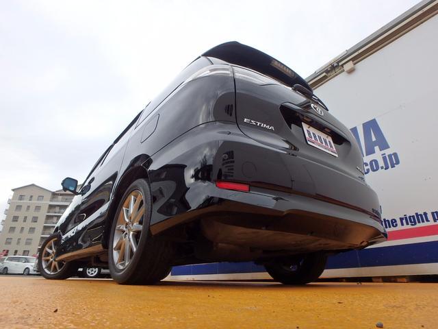 トヨタ エスティマ アエラス黒革シート後期型天吊モニター両側パワスラBカメ付ナビ