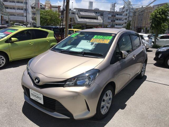 沖縄の中古車 トヨタ ヴィッツ 車両価格 124.2万円 リ済別 平成28年 1.4万km ベージュ