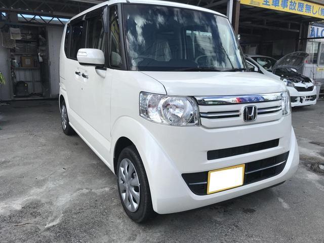 沖縄の中古車 ホンダ N-BOX 車両価格 92万円 リ済別 2015(平成27)年 7.3万km パールホワイト