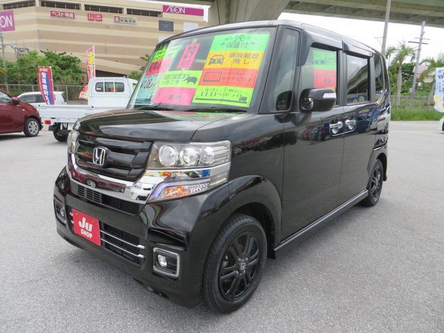 沖縄県の中古車ならN-BOXカスタム G SSブラックスタイルパッケージ ナビ・フルセグTV・CD・DVD・ブルートゥース・バックカメラ・ETC・シートヒーター・パワースライドドア