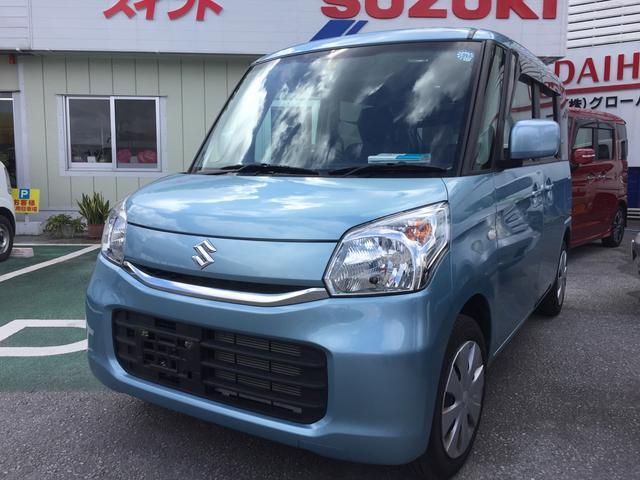 沖縄の中古車 スズキ スペーシア 車両価格 122万円 リ済込 平成28年 1.2万km ライトブルー