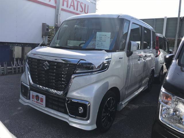 沖縄県の中古車ならスペーシアカスタム  届出済み未使用車 両側パワースライドドア スマートキー プッシュスタート シートヒーター
