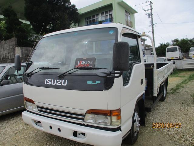 沖縄県の中古車ならエルフトラック 3段クレーン2トンロング