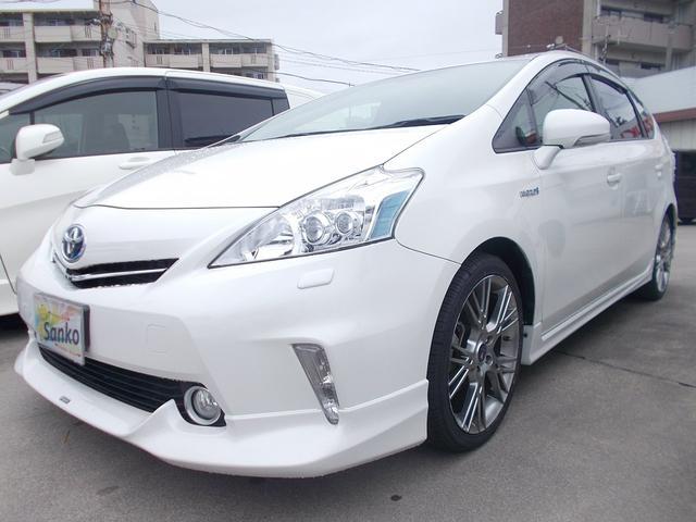 沖縄県の中古車ならプリウスアルファ G 8インチHDDナビ モデリスタエアロ LEDヘッドライト