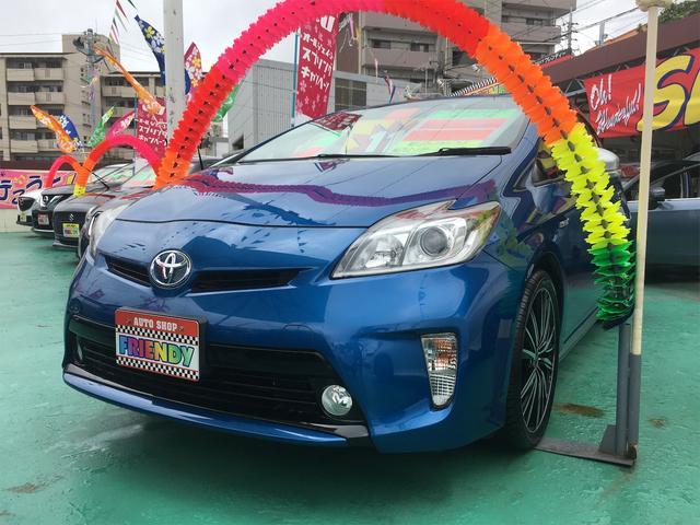 沖縄の中古車 トヨタ プリウス 車両価格 119万円 リ済込 2013(平成25)年 8.0万km ブルーM