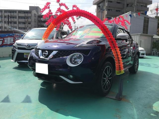 沖縄県の中古車ならジューク 15RX パーソナライズパッケージ 純正ナビ フルセグTV バックカメラ プッシュスタート 純正17インチアルミ 新品タイヤ インテリキー
