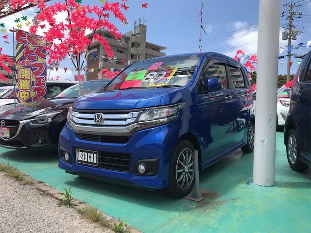 沖縄の中古車 ホンダ N-WGNカスタム 車両価格 89万円 リ済込 2016(平成28)年 6.8万km ブルー