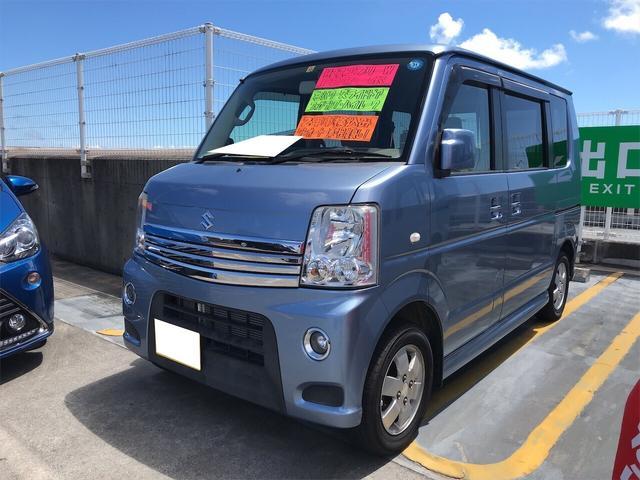 沖縄県の中古車ならエブリイワゴン PZターボ 軽自動車 ブリーズブルーメタリック AT