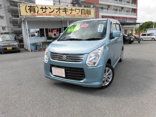 沖縄の中古車 スズキ ワゴンR 車両価格 60万円 リ済込 2013(平成25)年 8.5万km ライトブルーM