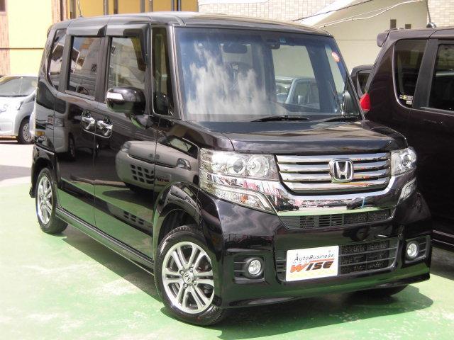 沖縄の中古車 ホンダ N-BOXカスタム 車両価格 91.9万円 リ済込 平成26年 8.3万km プレミアムゴールドパープルパール