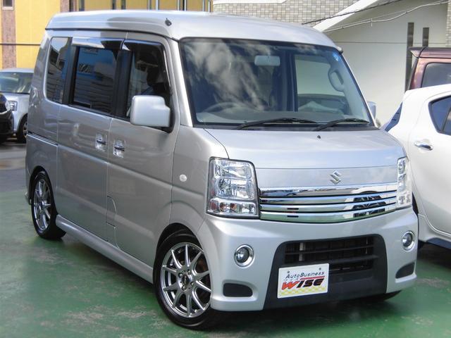 沖縄県の中古車ならエブリイワゴン PZターボスペシャル ハイルーフ WパワースライドDr オートステップ 社外SDナビ フルセグTV TEIN車高調kit 社外15AW