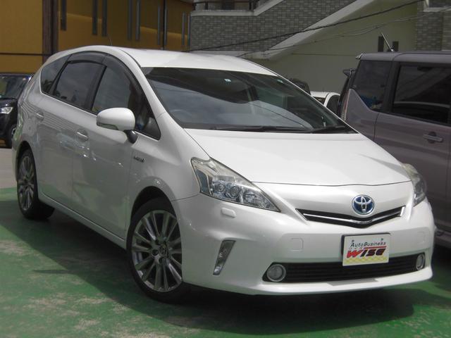 沖縄県の中古車ならプリウスアルファ S LEDヘッドライト アルパイン8incナビ フルセグTV スマホ接続対応 社外18incAW