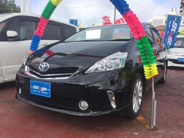 沖縄の中古車 トヨタ プリウスアルファ 車両価格 123万円 リ済込 平成24年 9.2万km ブラック