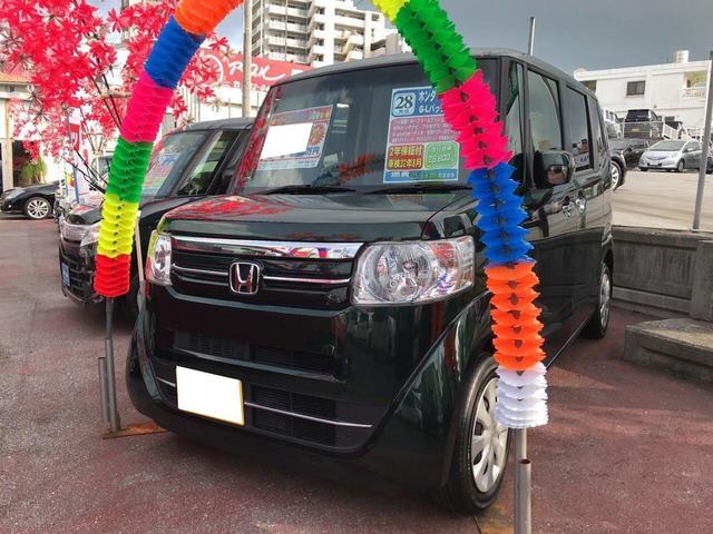 沖縄の中古車 ホンダ N BOX 車両価格 112万円 リ済込 平成28年 2.9万km Dグリーン