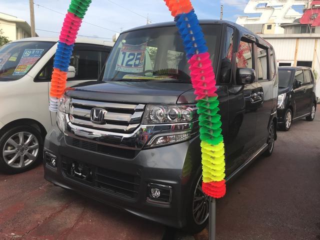 沖縄の中古車 ホンダ N BOXカスタム 車両価格 119万円 リ済込 平成27年 5.5万km グレー
