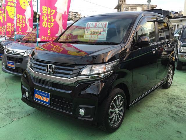 沖縄の中古車 ホンダ N-WGNカスタム 車両価格 104万円 リ済込 平成27年 6.9万km ブラックM