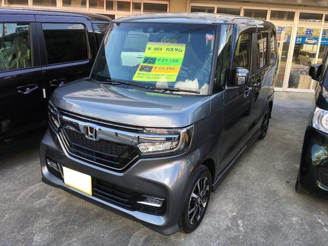 宜野湾市 長浜モーター(有) ホンダ N-BOXカスタム G・Lホンダセンシング 届出済未使用車 グレーM 10km 2019(令和1)年