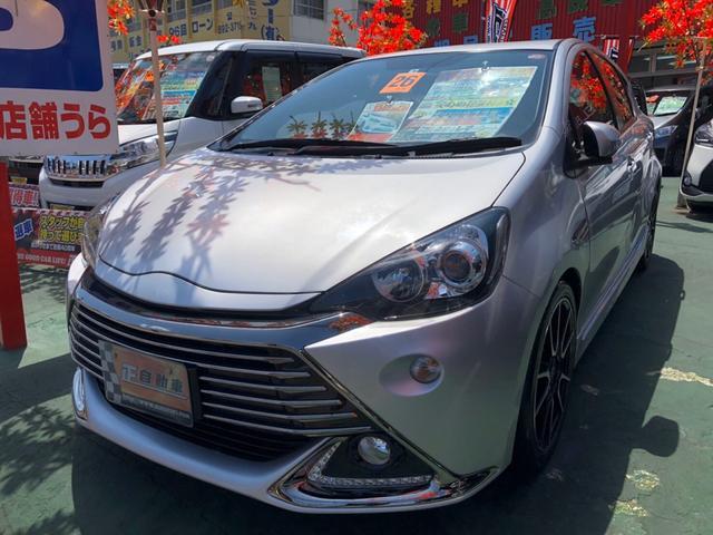 沖縄県宜野湾市の中古車ならアクア G G's プッシュスタート ハーフレザーシート LED
