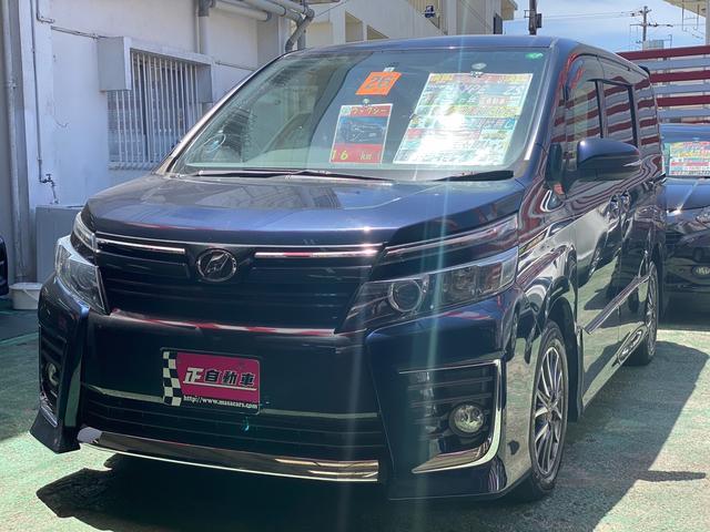 沖縄県の中古車ならヴォクシー ZS 両側パワースライドドア フルセグTV ナビ プッシュスタート LEDライト 三列シート 純正フルエアロ 純正アルミ フォグランプ ETC バックカメラ