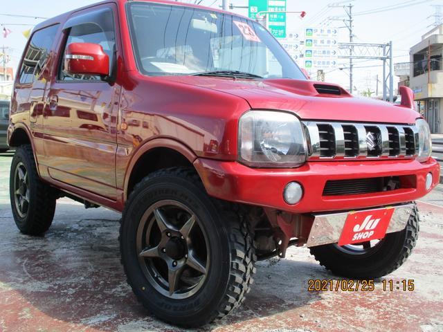 沖縄県の中古車ならジムニー クロスアドベンチャーXC リフトアップ・新品タイヤ・ハーフレザーシート・アピオ16インチアルミ・ターボ・4WD・キーレス・シートヒーター・ワンセグナビ・ツイーター・フジツボマフラー