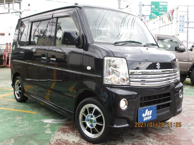 沖縄県の中古車ならエブリイワゴン PZターボ 新品タイヤホイール・ナビTV・本土中古・左パワースライドドア