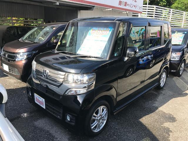 沖縄の中古車 ホンダ N-BOXカスタム 車両価格 103万円 リ済込 2013(平成25)年 7.8万km クリスタルブラックパール