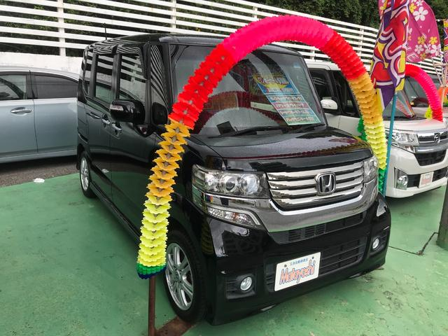 沖縄の中古車 ホンダ N-BOXカスタム 車両価格 79万円 リ済込 2013(平成25)年 8.6万km クリスタルブラックパール