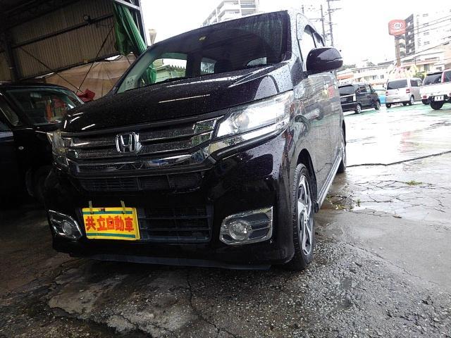 沖縄の中古車 ホンダ N-WGNカスタム 車両価格 75万円 リ済込 2015(平成27)年 9.4万km ブラック