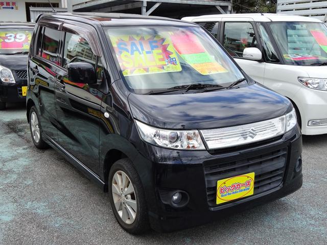 沖縄県沖縄市の中古車ならワゴンRスティングレー X インテリジェントキー・ディスチャージライト・Wエアバック・ABS・CVT・プッシュスタート・プライバシーガラス・電動格納ミラー・純正エアロ・純正アルミホイール・