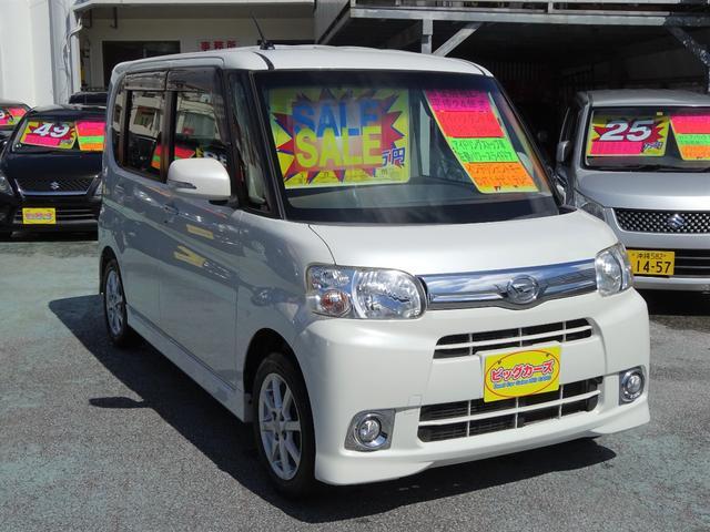沖縄県の中古車ならタント G アイドリングストップ車・パワースライドドア・Wエアバック・ABS・CVT・電動格納ミラー・フォグランプ・プライバシーガラス・インテリジェントキー・アルミホイール・社外ナビ・テレビ