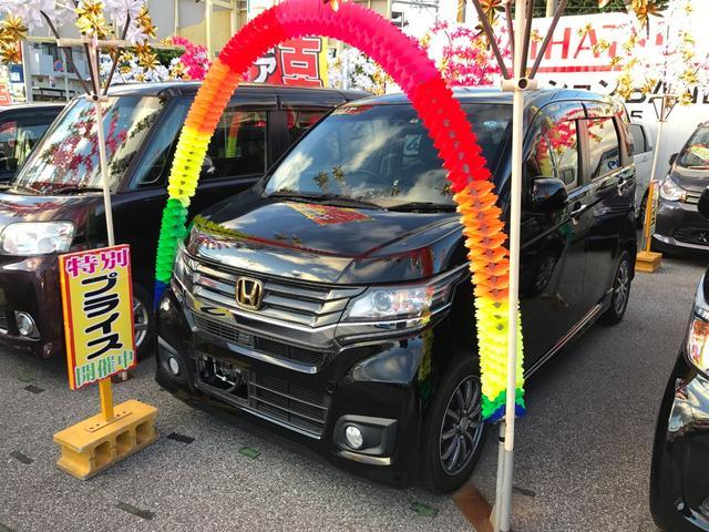 沖縄の中古車 ホンダ N-WGNカスタム 車両価格 71万円 リ済込 2014(平成26)年 7.5万km ブラック