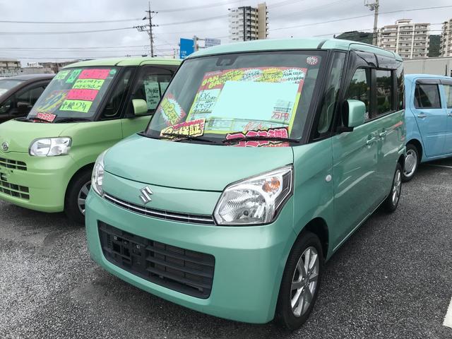沖縄の中古車 スズキ スペーシア 車両価格 56万円 リ済込 2014(平成26)年 4.7万km Lグリーン
