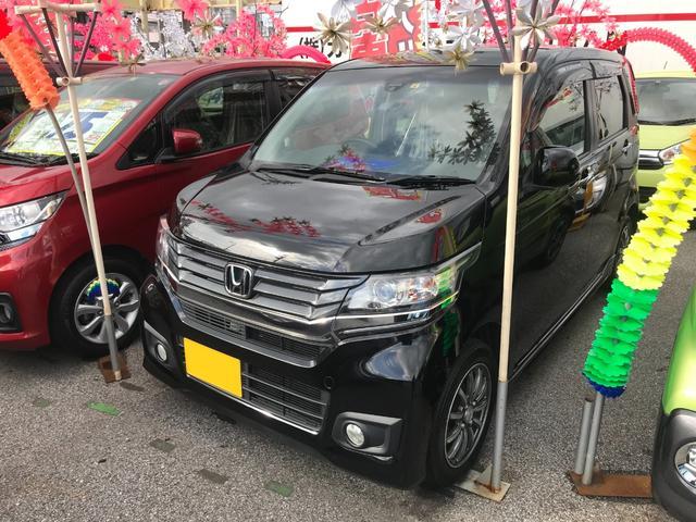 沖縄の中古車 ホンダ N-WGNカスタム 車両価格 69万円 リ済込 2014(平成26)年 7.4万km ブラック