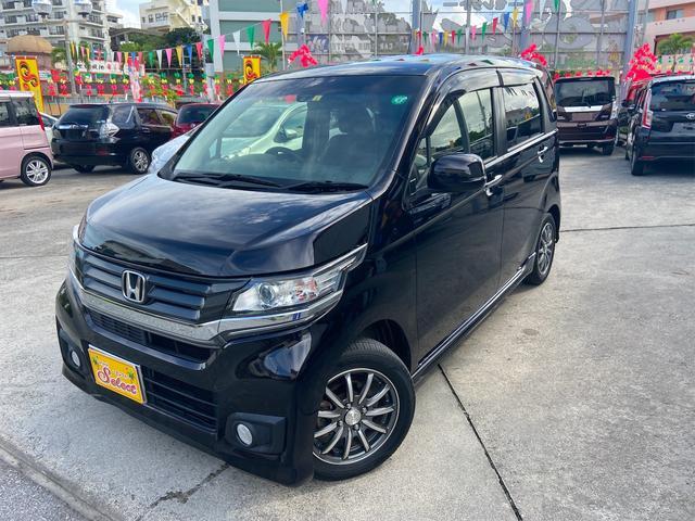 沖縄の中古車 ホンダ N-WGNカスタム 車両価格 82万円 リ済込 2015(平成27)年 7.4万km ワイン