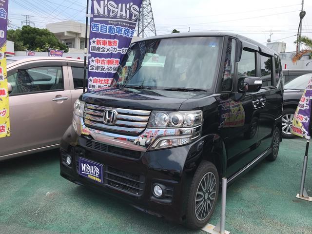 沖縄の中古車 ホンダ N-BOXカスタム 車両価格 80万円 リ済込 2014(平成26)年 9.2万km ブラック