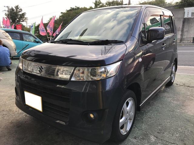 沖縄県の中古車ならワゴンRスティングレー X プッシュスタート TVナビ 純正アルミ フルフラット