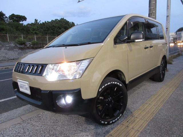 沖縄県の中古車ならデリカD:5 G パワーパッケージ ベージュオールペイント 新品タイヤ 4WD切り替え