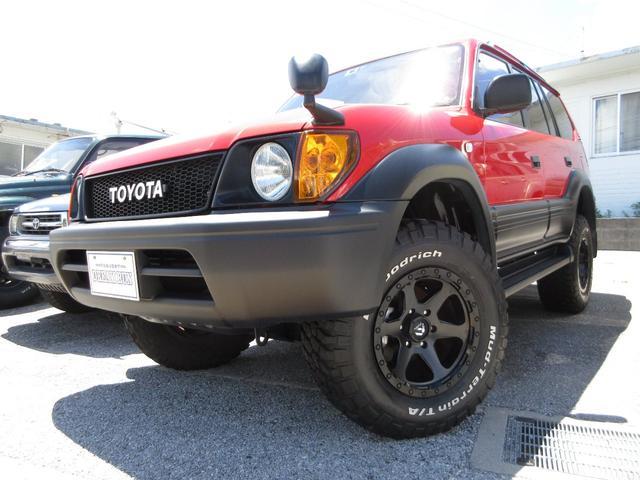 沖縄県の中古車ならランドクルーザープラド TX オールペイント リフトアップ FUEL17アルミ BFグットリッチMTタイヤ 丸目仕様
