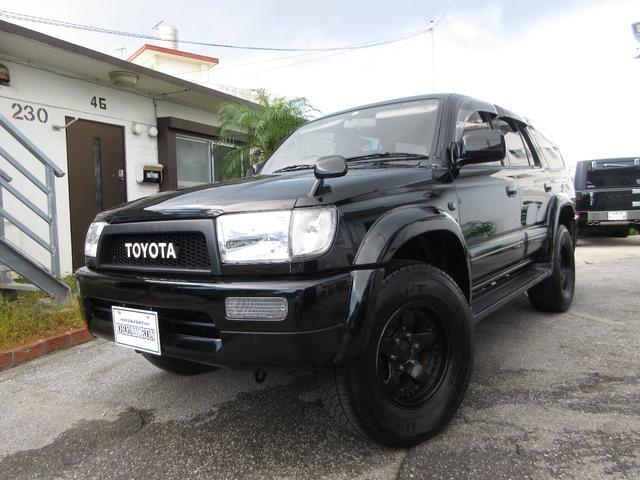 沖縄県の中古車ならハイラックスサーフ SSR-X ワイド 同色ブラック 社外アルミ 新品グリル 新品ラジエター背面タイヤレス