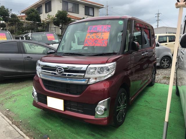 沖縄県の中古車ならタント カスタムRS ターボ 両側パワースライドドア ETC 純正アルミ プッシュスタート スマートキー TVナビ