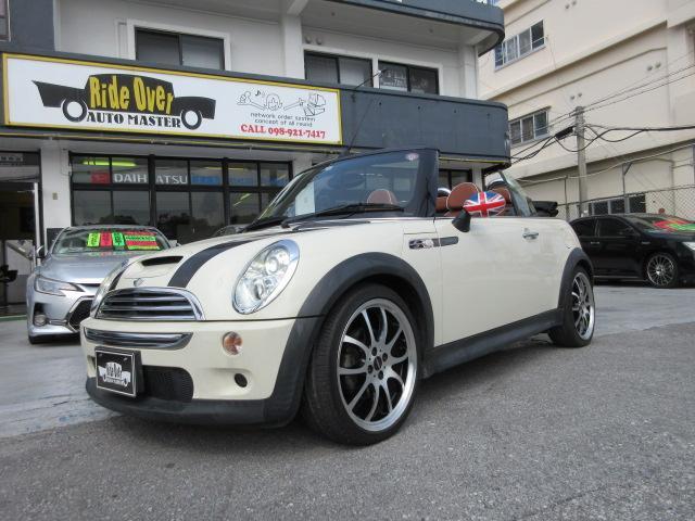 沖縄県の中古車ならMINI クーパーS コンバーチブル サイドウォーク 革張りヒーターシート・パドルシフト付6AT・社外18アルミ・電動オープン
