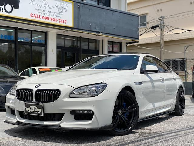 中頭郡北谷町 RIDE OVER BMW 6シリーズ 640iグランクーペ FiEXHAUST可変バルブ付き4本出マフラー カーボン調F.S.リアディフィーザー サンルーフ ホワイト 3.7万km 2013(平成25)年