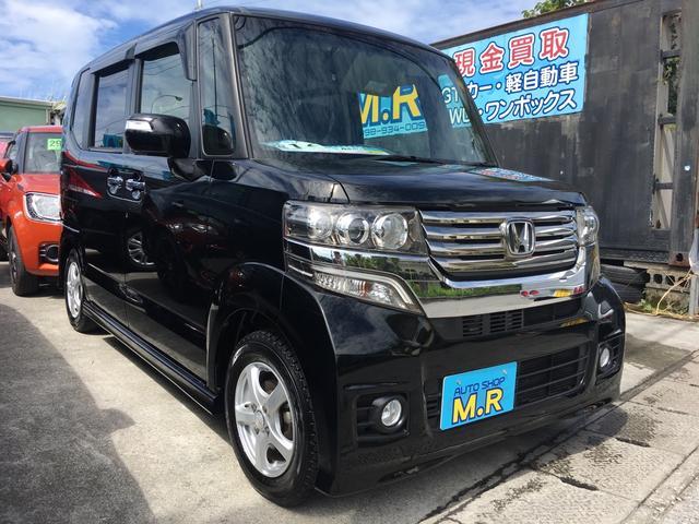 沖縄の中古車 ホンダ N BOX+カスタム 車両価格 99万円 リ済込 平成25年 5.9万km クリスタルブラックパール