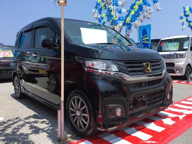 沖縄の中古車 ホンダ N-WGNカスタム 車両価格 89万円 リ済込 平成26年 3.4万km ブラック