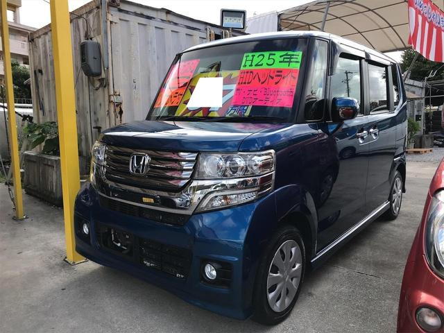 沖縄県の中古車ならN-BOX+カスタム G スマートキー プッシュスタート 両側スライドドア ナビ TV Bluetooth DVDビデオ