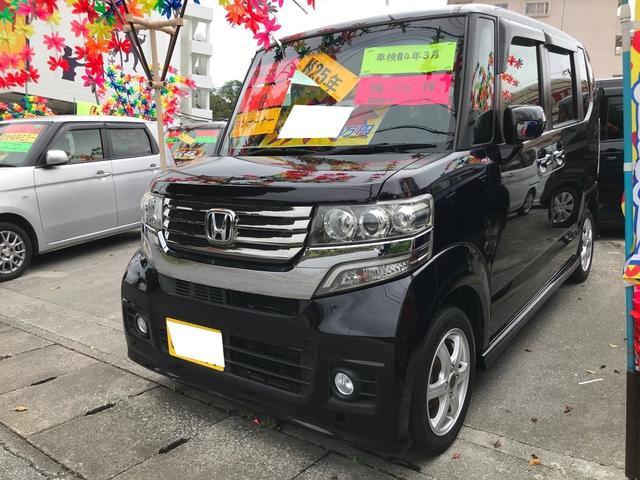 沖縄の中古車 ホンダ N-BOXカスタム 車両価格 58万円 リ済込 2013(平成25)年 12.9万km スマートブラック