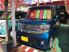 沖縄の中古車 ホンダ N BOXカスタム 車両価格 96万円 リ済込 平成24年 7.7万K ブルー