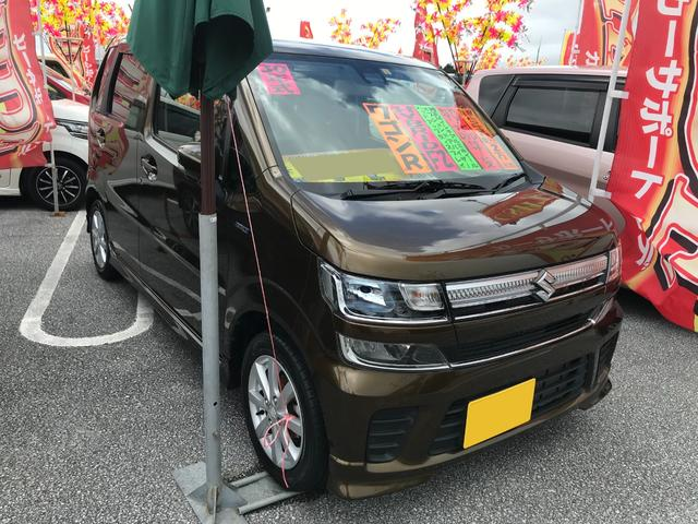 沖縄の中古車 スズキ ワゴンR 車両価格 106万円 リ済込 2018(平成30)年 2.0万km ブレイブカーキパール