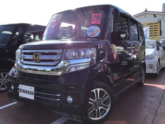 沖縄の中古車 ホンダ N-BOXカスタム 車両価格 125万円 リ済別 2016(平成28)年 4.3万km クリスタルブラックパール