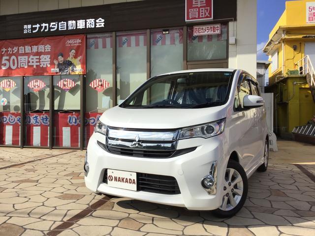 沖縄の中古車 三菱 eKカスタム 車両価格 79万円 リ済別 2015(平成27)年 5.0万km ホワイトパール
